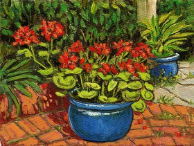 <strong>Geraniums in Blue pot</strong>