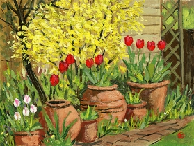 <strong>Forsythia and tulips</strong>