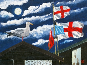 <strong>Flags at Aldeburgh' nighttime</strong>