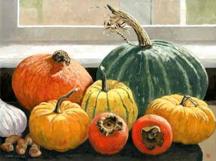 Autumn squashes and persimmons