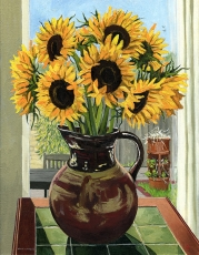 <strong>Sunflowers in a brown jug</strong>
