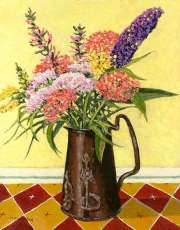 Garden flowers in a copper jug