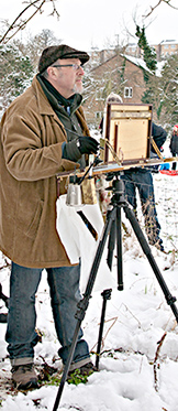 Painting in the January snow